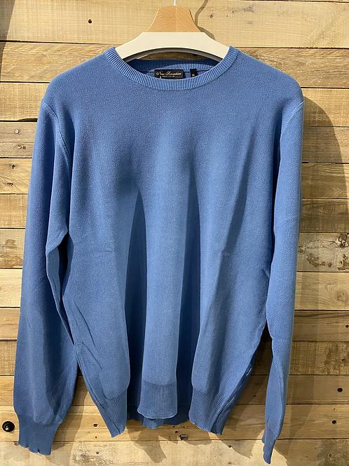 Maglione azzurro in cotone collo U