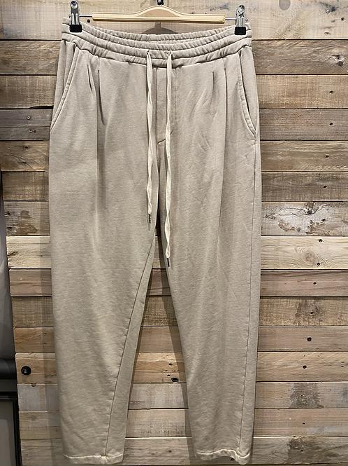 Pantalone beige in cotone garzato