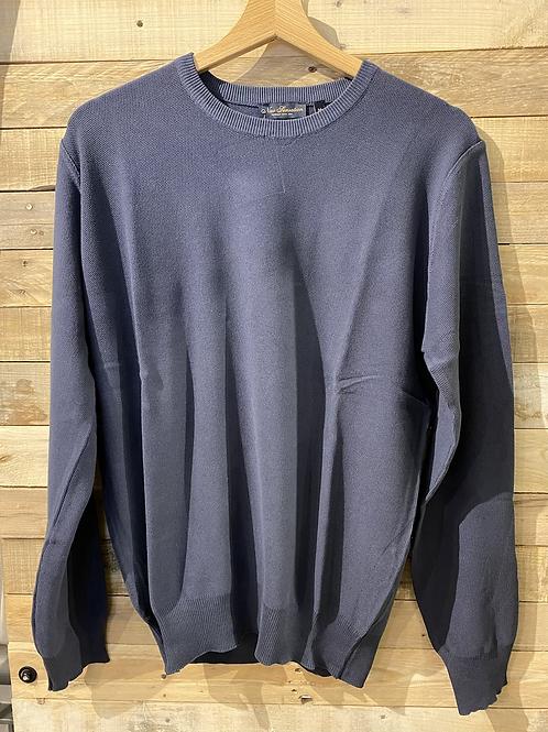 Maglione blu in cotone collo a U