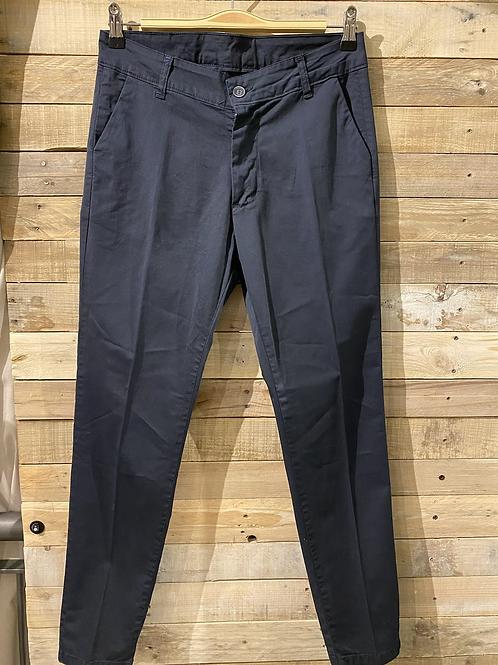 Pantalone dritto blu in cotone