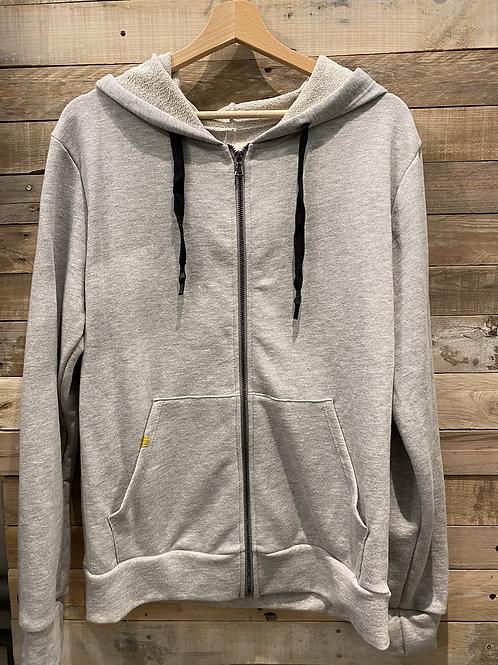Felpa in cotone grigio con zip