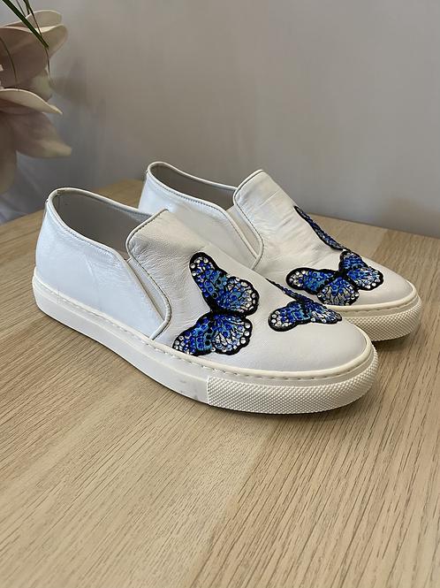 Slip-on bianco con farfalle