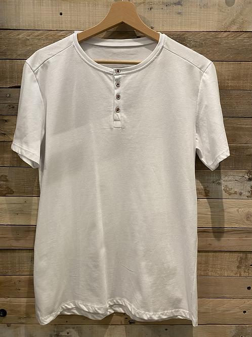 T-shirt bianca con bottoncini