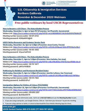 Flyer_USCIS Webinars_November & December