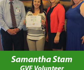 Samantha Stam is MPTC Gold Award Winner as volunteer for GVE