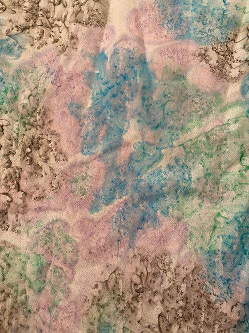 "Prayer Scarf- Item 84 Teal, lavender, green, gray - large 10.5 x 58"""