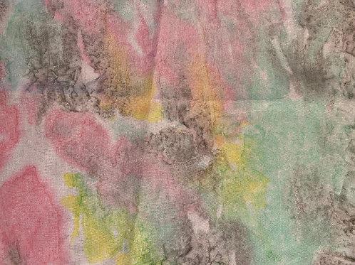"Prayer Scarf- Item 85 Pink, yellow, green, gray - large 11 x 58.5"""