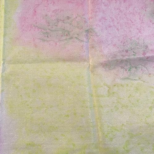"Prayer Scarf Item 123 Lime green, pink - large, 10"" x 58"""