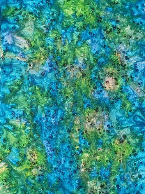 "Prayer Scarf - Item 52 Blue, green-Small 7.75 x 53"""