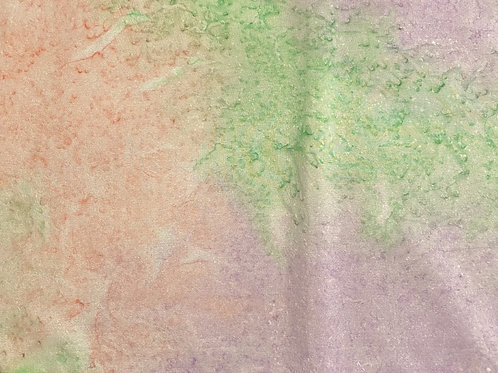"Prayer Scarf Item 120 Green, coral, purple- large, 10.25"" x 58"""