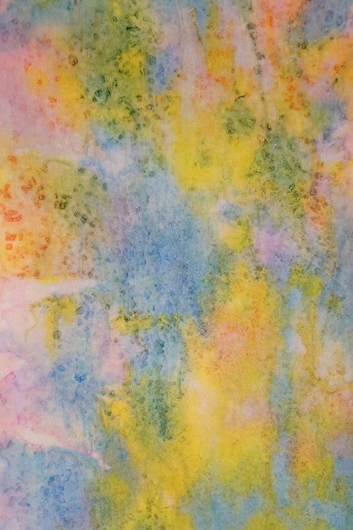 "Prayer Scarf- Item 6 Yellow, blue, pink- Large 10.5 x 58"""