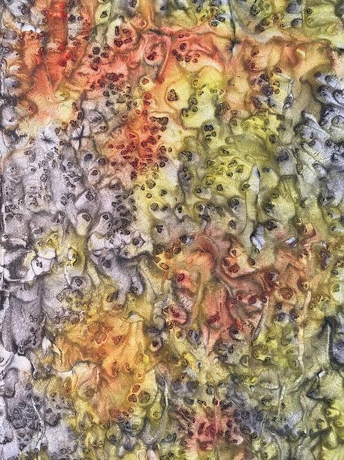Prayer Scarf- Item 37 Yellow, brown, gray - small 7.5 x 53