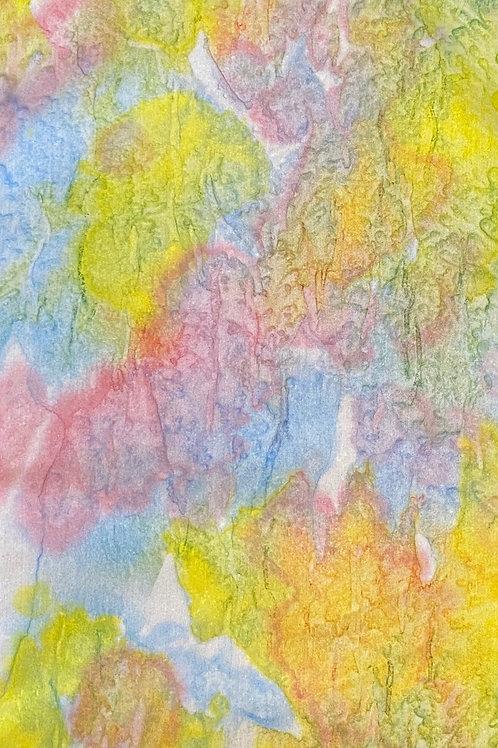 "Prayer Scarf - Item 65  Yellow, blue, pink-Small 8.25 x 54"""