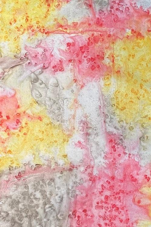 "Prayer Scarf - Item 62 Light red, yellow, gray - Small 7.5 x 52.5"""