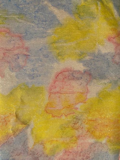 "Prayer Scarf - Item 83 Blue, yellow, pink 10.5 x 57.5"""