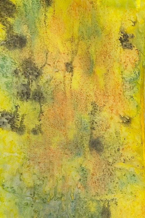 Prayer Scarf - Item 59 Bright yellow, green, light orange -Small 7.5 x 5