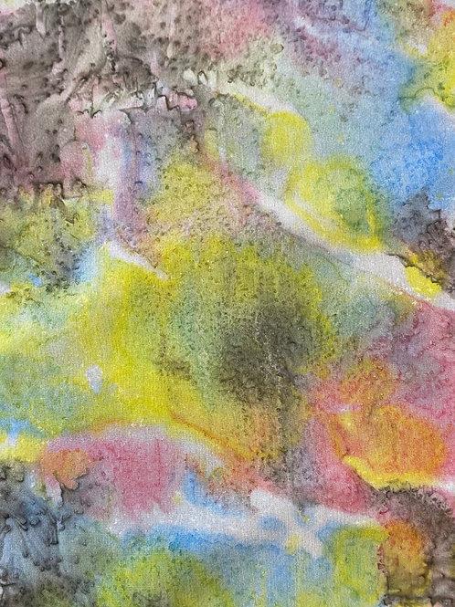 "Prayer Scarf- Item 24 Light red, yellow, blue, gray -small 8 x 53.25"""