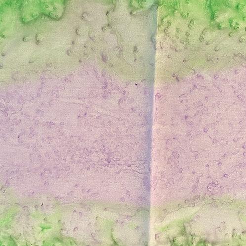 "Prayer Scarf Item 135 by Nancy, Green, purple - small, 8"" x 52.75"""