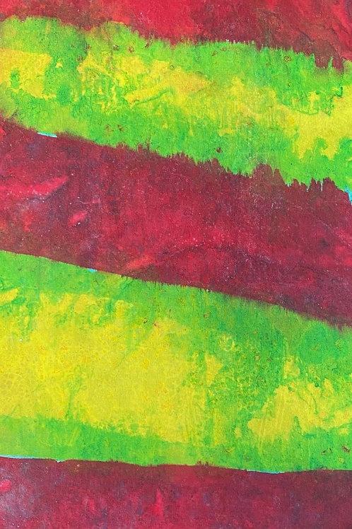 "Prayer Scarf - Item 61 Red, green, yellow - Small 7.75 x 53.25"""