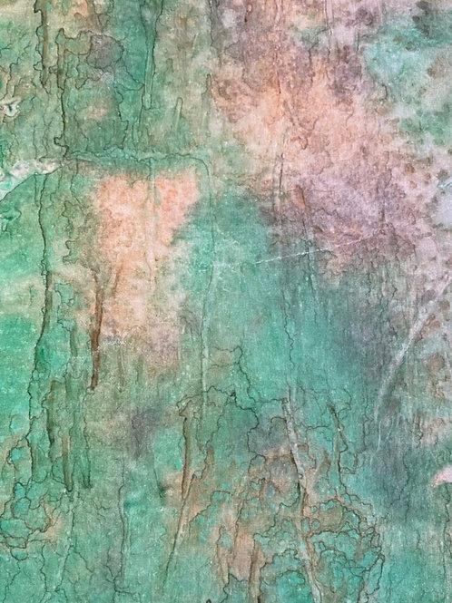 "Prayer Scarf- Item 50 Green, tan - Small 7.5 x 53"""