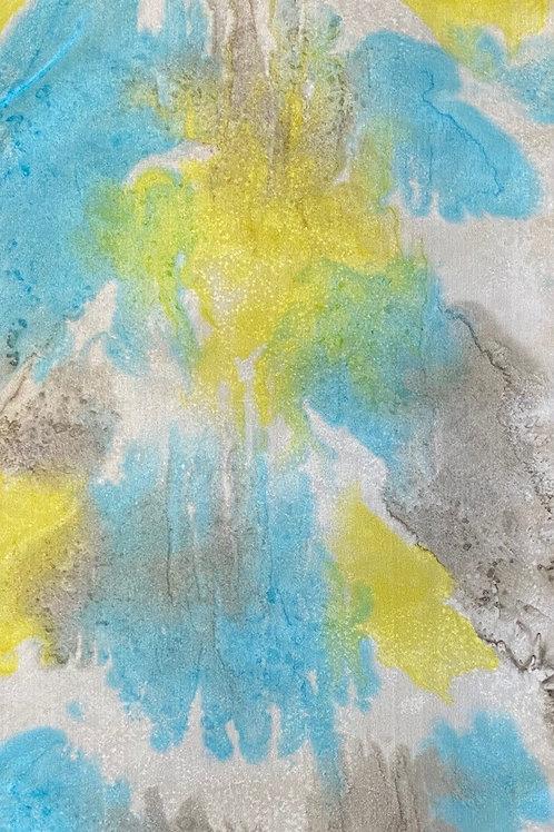 "Prayer Scarf - Item 68 Turquoise, yellow, gray - Small 8.25 x 53.25"""