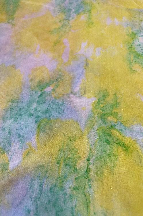 "Prayer Scarf- Item 16 Yellow, green, pink -large 11 x 58"""