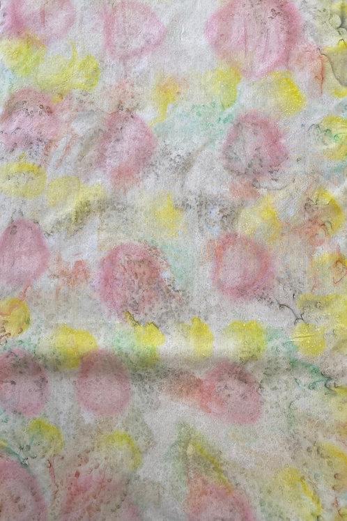 Prayer Scarf- Item 27 Pink, green, yellow - large 11 x 59