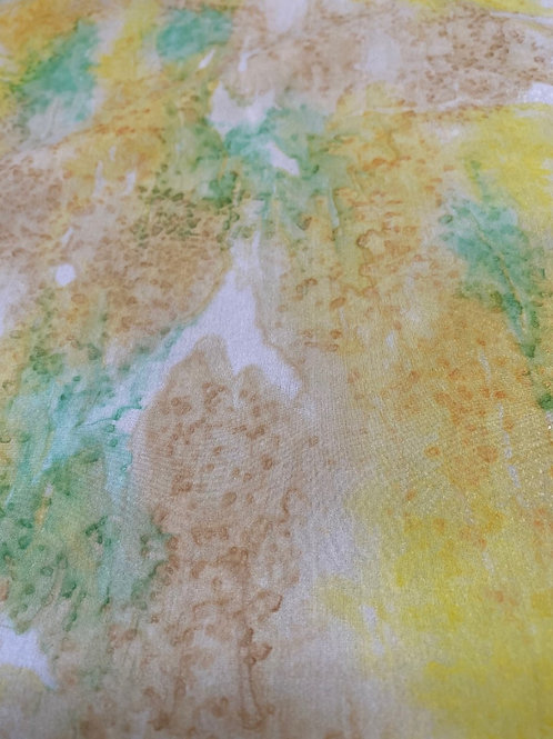 "Prayer Scarf- Item 18 Yellow, green, tan - large 11 x 58"""