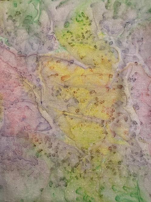 """Prayer Scarf Item 116 Green, lavender, yellow, pink - large, 10.25"""" x 58"""
