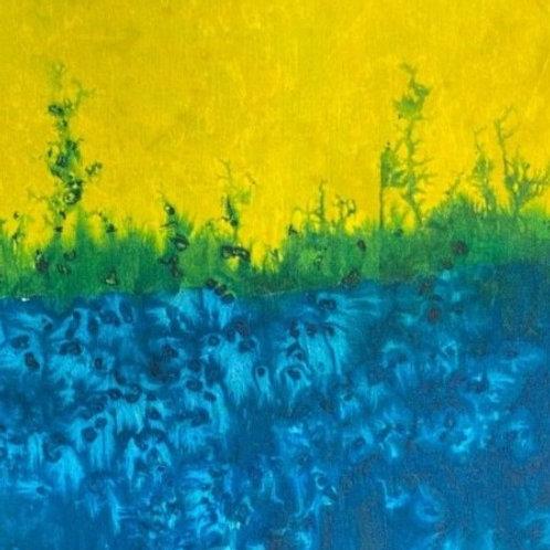 Prayer Scarf- Item 35 Bright yellow, blue, green - small 7.5 x 53