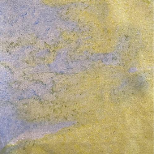 "Prayer Scarf Item 112 Blue, yellow - small, 7.75"" x 53"""