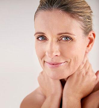 Woman smiling after facial