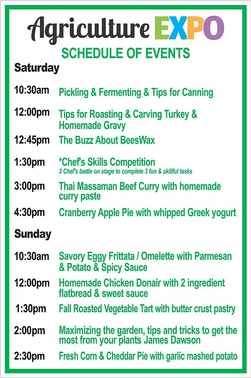 Agriculture Expo Schedule of events 2018