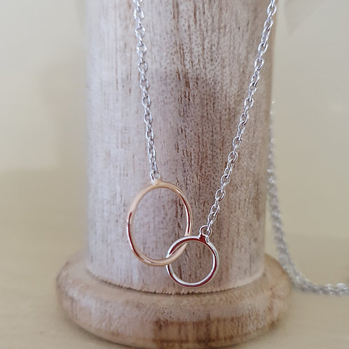 STERLING SILVER AND ROSE GOLD TWIN RING NECKLACE