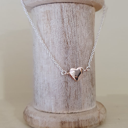 STERLING SILVER AND ROSE GOLD HEART BRACELET