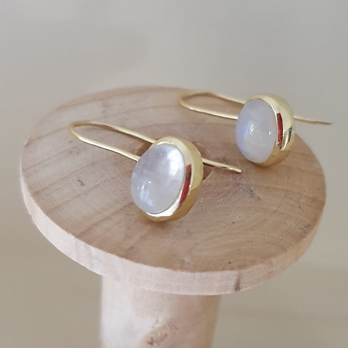 Gold plated Sterling Silver with Rainbow Moonstone drop earrings