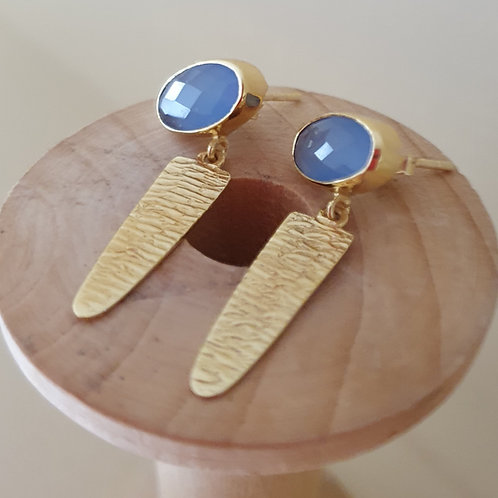 Chalcedony gold plated Sterling Silver drop earring