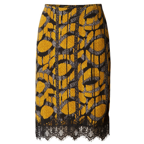 YEST PRINT SKIRT WITH LACE