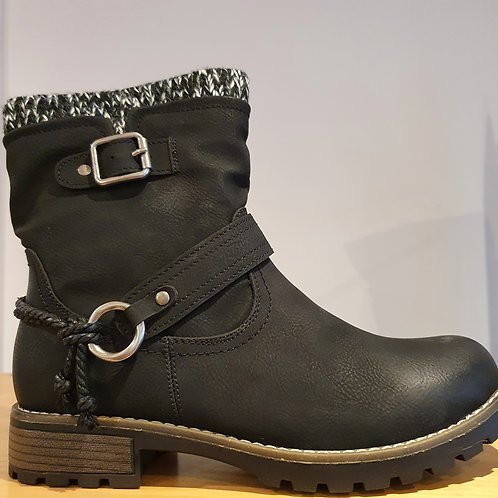 FAUX LEATHER CHUNKY BLACK BOOTS