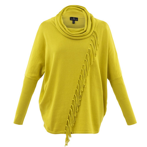 MARBLE CHARTREUSE FRINGE SWEATER.