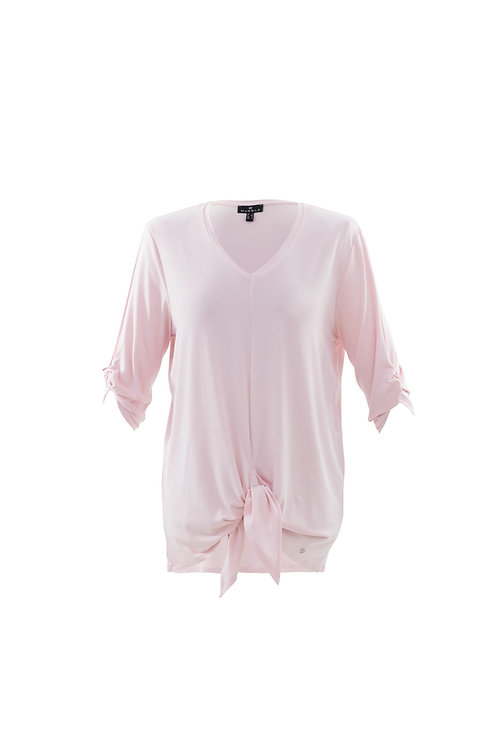 MARBLE TIE FRONT TOP IN SOFT PINK