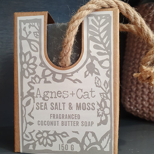 AGNES & CAT SEASALT COCONUT BUTTER SOAP ON A ROPE