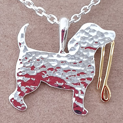 Dog with lead necklace