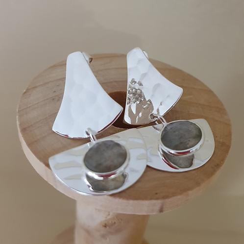 Labradorite & Sterling Silver textured design drop earrings