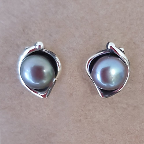 Sterling silver stud earrings with grey pearl