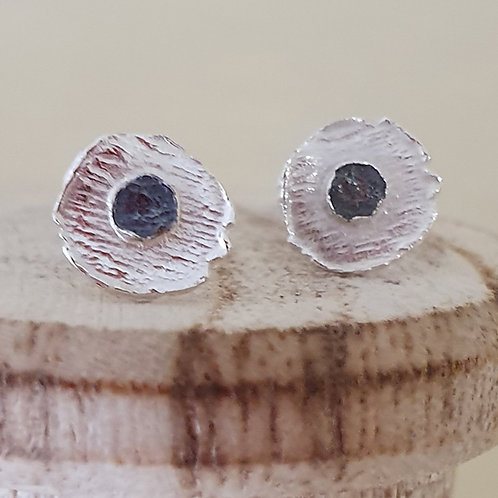 Sterling silver two tone small round stud earrings
