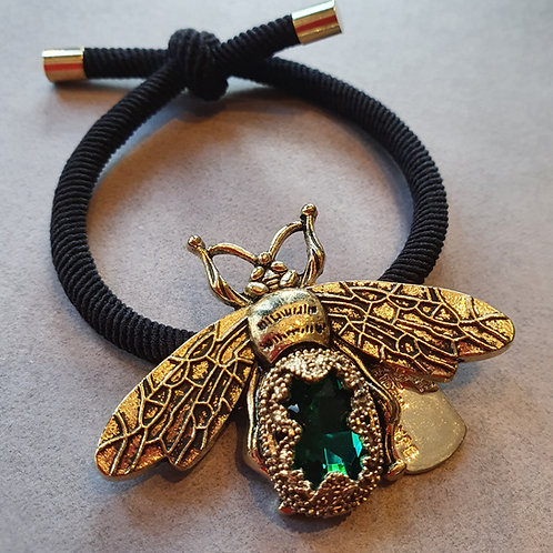 JEWELLED BEE HAIR TIE (Emerald)