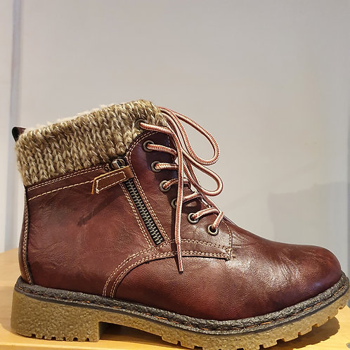 FAUX LEATHER CHUNKY BURGUNDY BOOTS