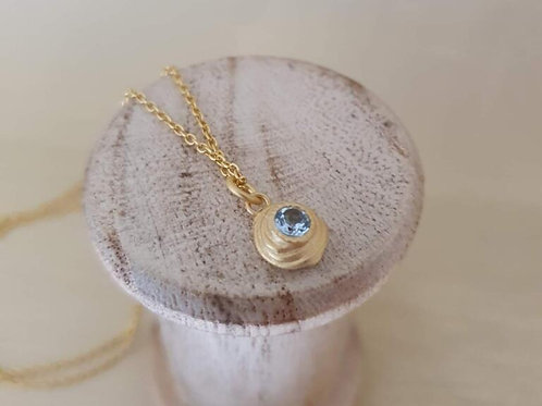 STERLING SILVER GOLD PLATED WITH BLUE TOPAZ NECKLACE