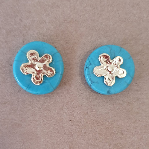 Turquoise button earrings with gold plated Sterling silver flower